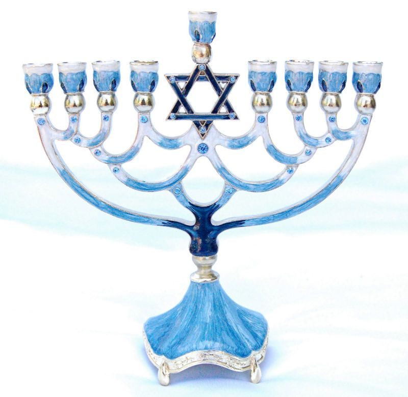 enameled jeweled jewish menorah lamp chanukah hanukkah