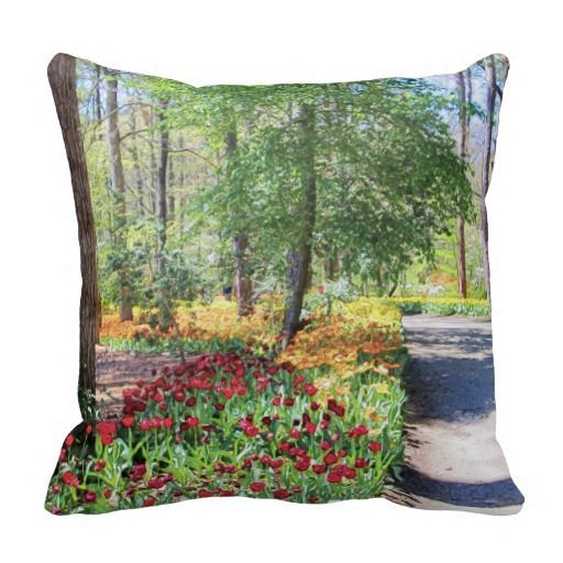 "Tulip Trail Pillows, with digitally rendered ""watercolor"" image from photograph shot during a spring visit to Garvan Woodland Gardens in Hot Springs, Arkansas. (http://www.zazzle.com/tulip_trail_pillow-189800452208587311?CMPN=addthis&lang=en&rf=238581717104918999) (https://www.facebook.com/hawcreek)"