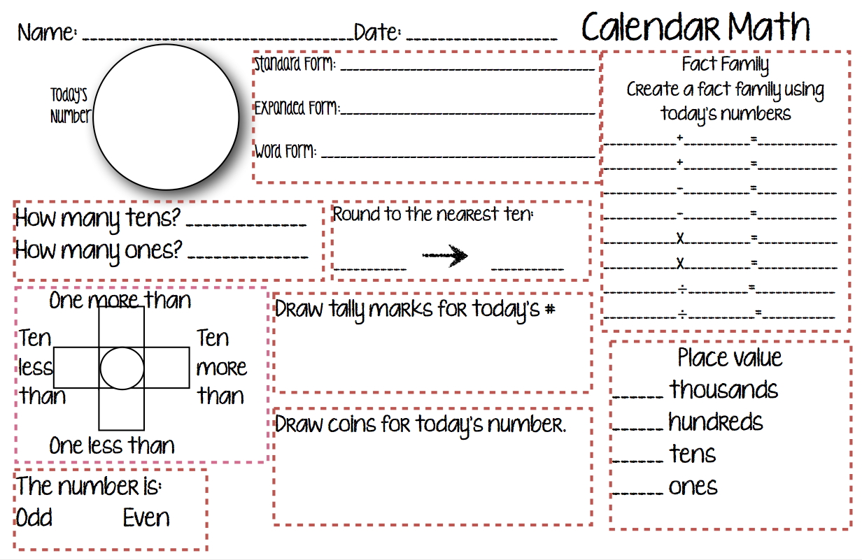 Calendar Math For The Fourth Grade