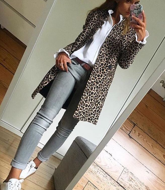 Leopard coat with gray jeans Timeless fashion classic #fashion #leopardoutf … – dresses