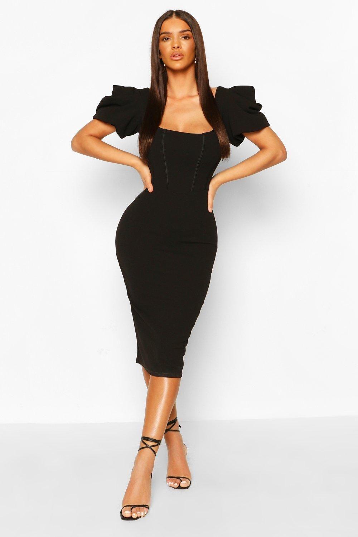 Corset Detail Puff Sleeve Bodycon Midi Dress Boohoo Tight Midi Dress Midi Dress Bodycon Bodycon Fashion [ 1500 x 1000 Pixel ]