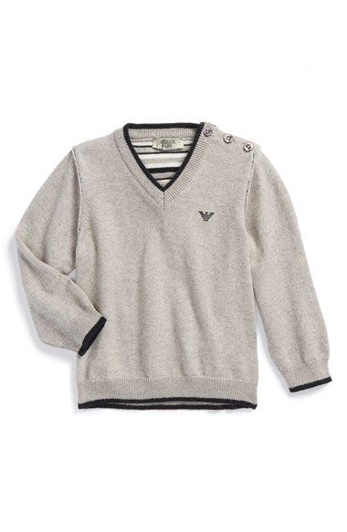 Armani Junior V-Neck Sweater (Baby Boys) available at #Nordstrom