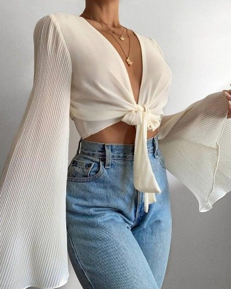Photo of Exaggerate Tie Neck Popper Cuff Mesh Blouse Online. Discover hottest trend fashi…