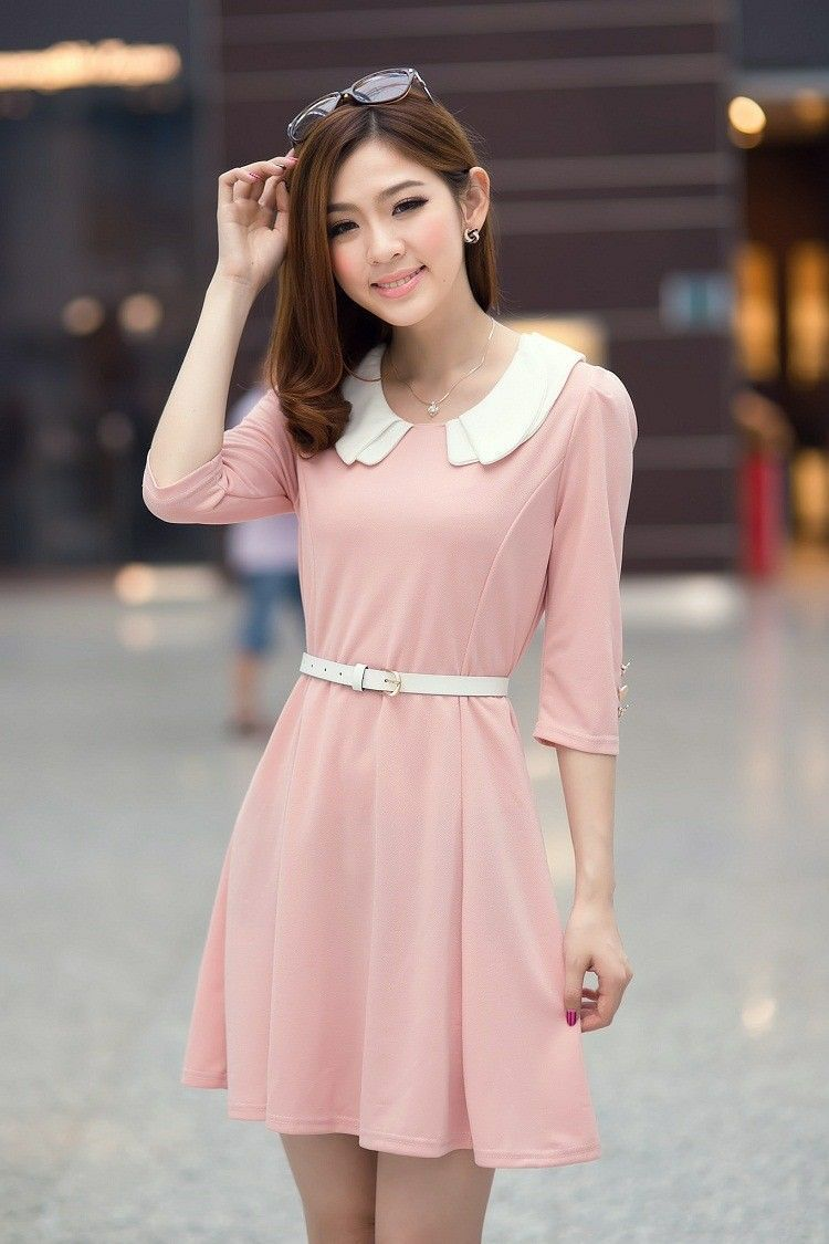 Details about womens fashion doll collar korean style slim half