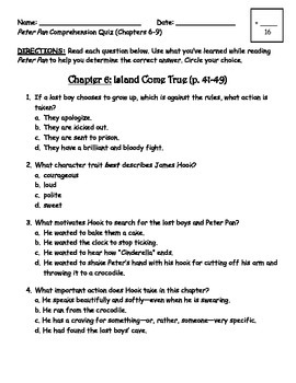 Peter pan comprehension quiz chapters 6 9 character trait engageny 3rd grade ela module 3a unit 1peter pan classic starts series by publicscrutiny Choice Image