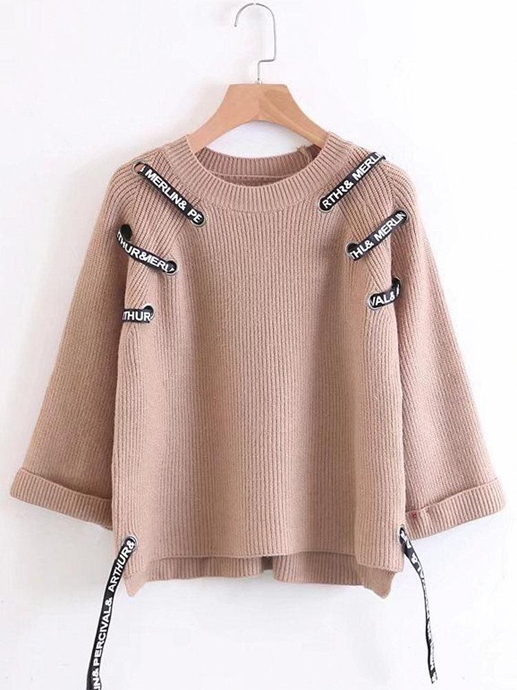 d8810476b2af Women Bandage Long Sleeve Lace Up Pullover Sweaters