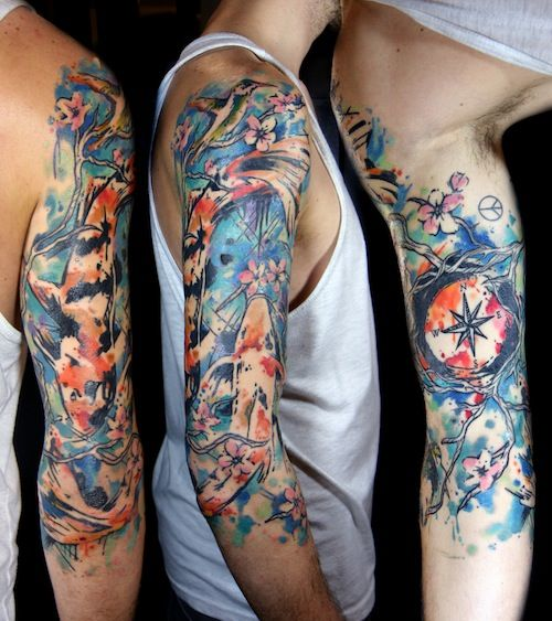 Watercolor Tattoos For Men Sleeve Tattoos Tattoo Sleeve Designs