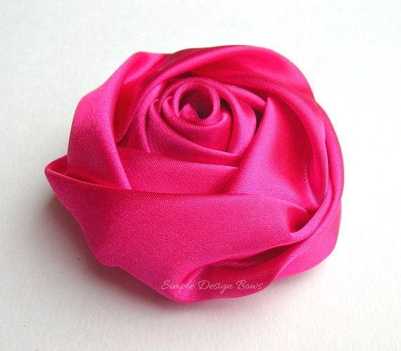 Hot pink hair flower hot pink flower clip shocking pink satin hot pink hair flower hot pink flower clip shocking pink satin rolled rose mightylinksfo