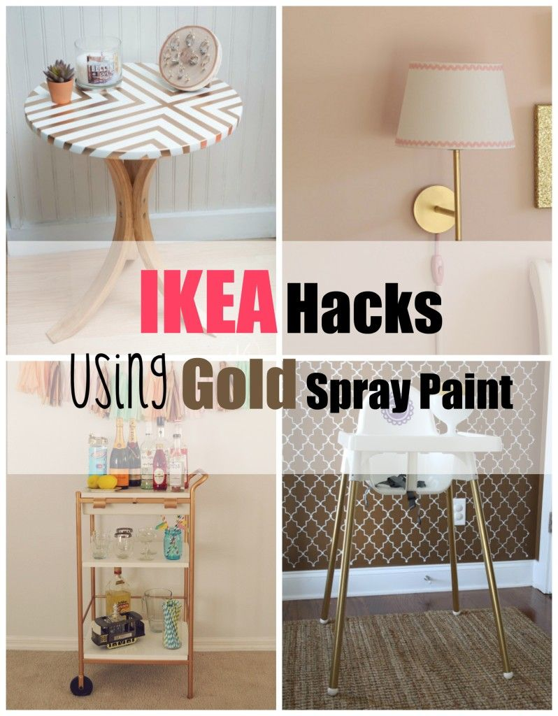 ikea hacks using gold spray paint gold spray paint gold spray and ikea hack. Black Bedroom Furniture Sets. Home Design Ideas