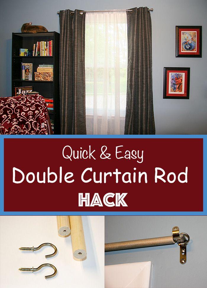 Double Curtain Rod Hack Easy Curtain Diy Diy Woodworking