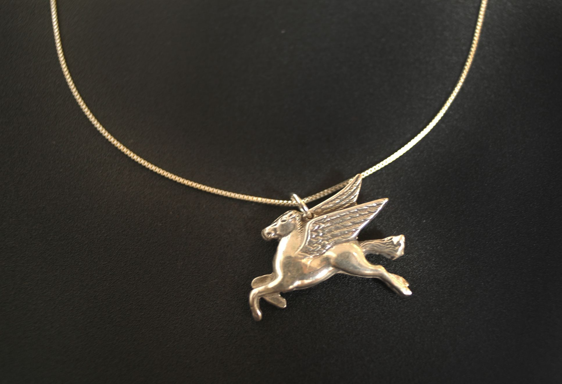Mobil Winged Horse Necklace in Sterling Silver « SilverBotanica – Handmade Jewelry designed by Alicia Hanson and Hi Octane Industries Inc. | International Tropical Jewellery