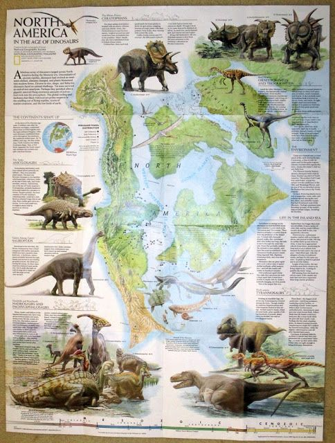 Vintage Dinosaur Art Dinosaurs National Geographic January 1993 Free Poster Bonus Dinosaur Posters Dinosaur Art Prehistoric Animals