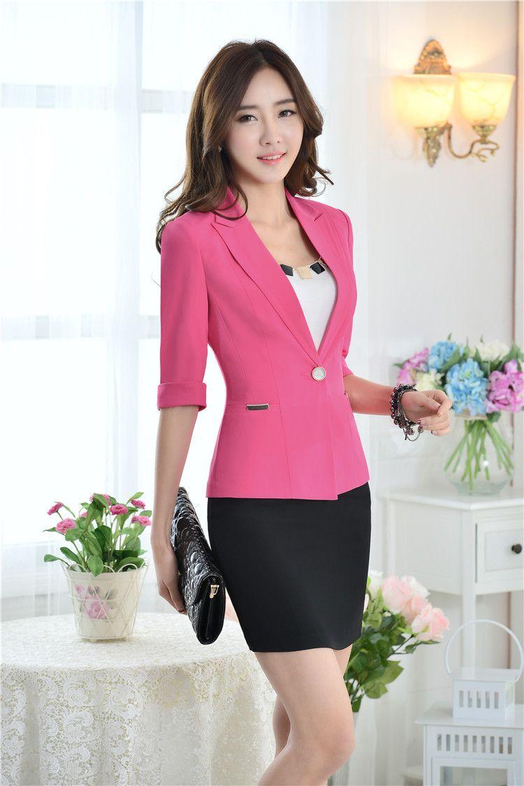 dc603a933ba62 Cheap Novedad rosa Slim negocios mujeres Blazers chaquetas 2015 primavera  verano uniforme para mujer del diseño