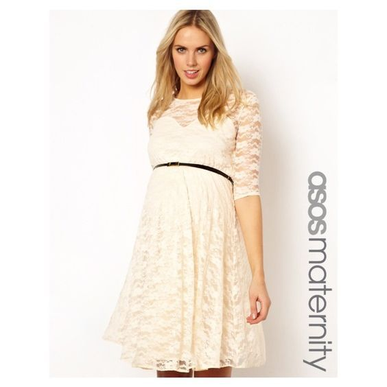 Cream lace maternity dresses
