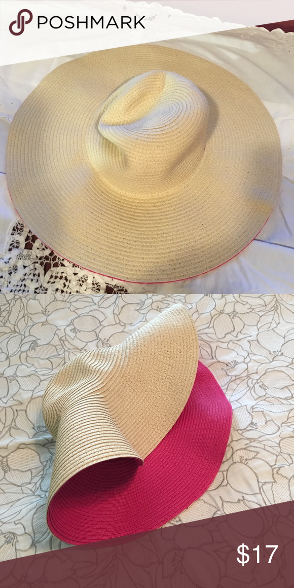 9f584640b1c48 Ann Taylor Hat Wonderful Ann Taylor wide brimmed summer hat! Fun with Pink  on the inside brim. Looks like a soft straw type fabric but is actually  100% ...