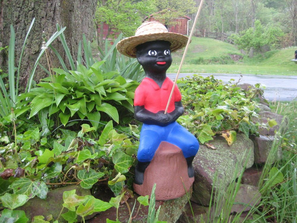 Stsatuette For Outdoor Ponds: Black Fishing Boy Concrete Pond Statue (Lawn Jockey) Red