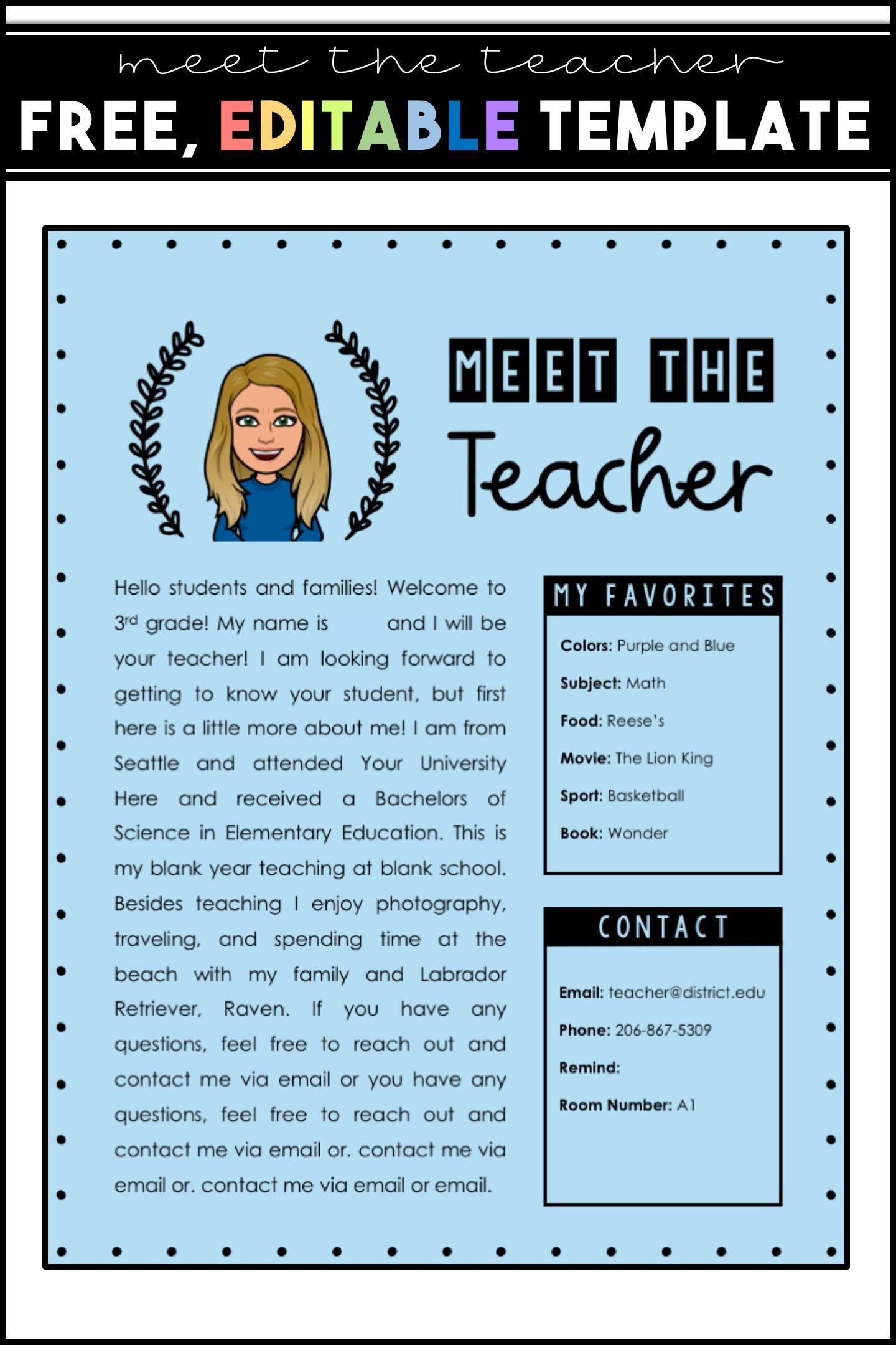 Meet The Teacher Editable Template Free Meet The Teacher Template Teacher Templates Digital Learning Classroom Free blogger template for teachers