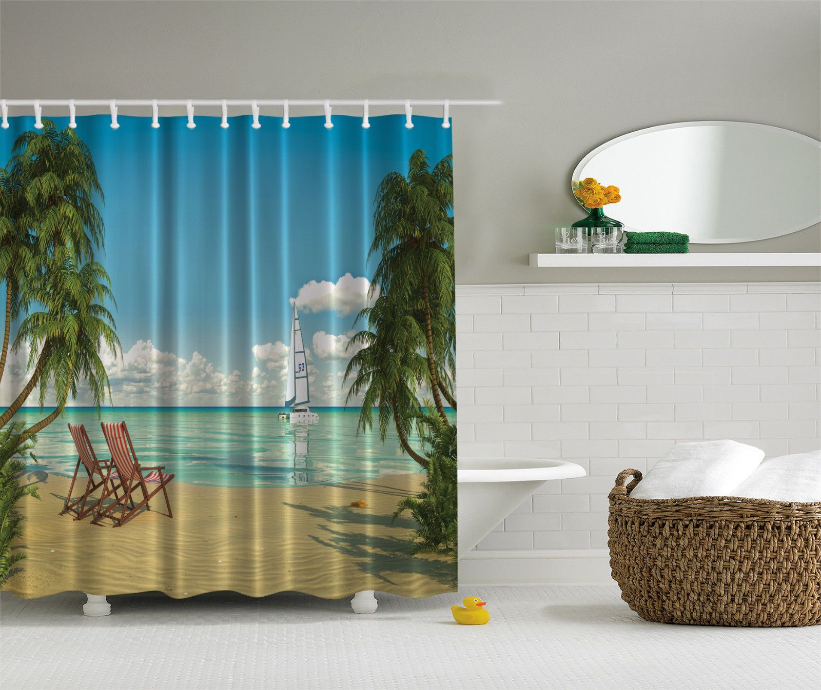 New Custom Designed Beach Scene Palm Trees Boat Fabric Shower