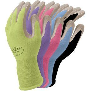 Atlas Nitrile Gardening And Work Gloves Green Apple Small By
