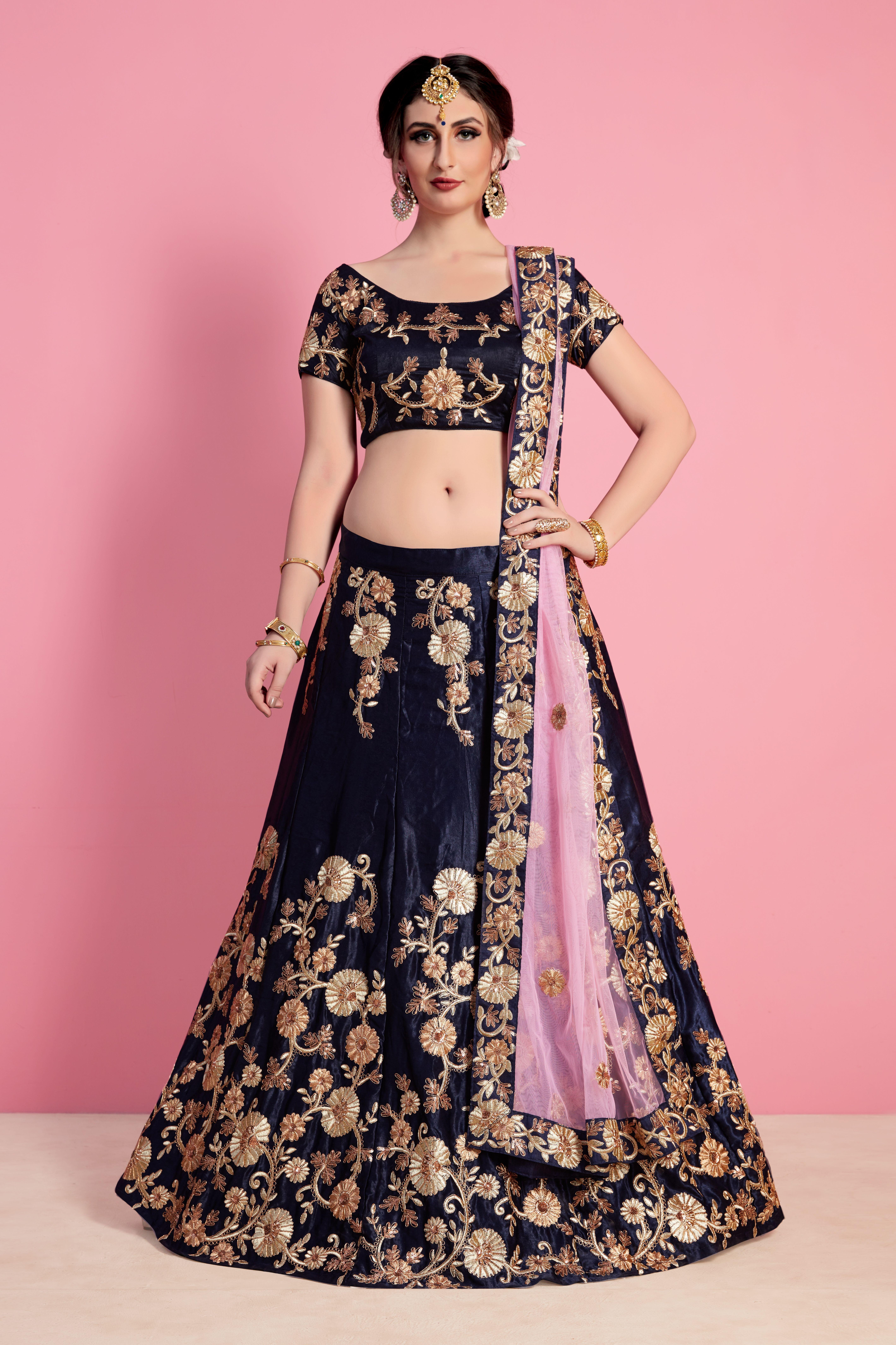 8e5d847df6 Navy blue velvet silk heavy embroidered bridal lehenga set. This lehenga set  is adorned with