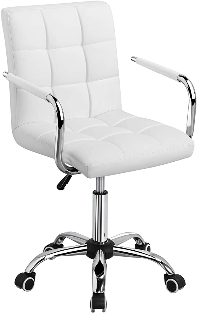 Yaheetech White Desk Chairs with Wheels