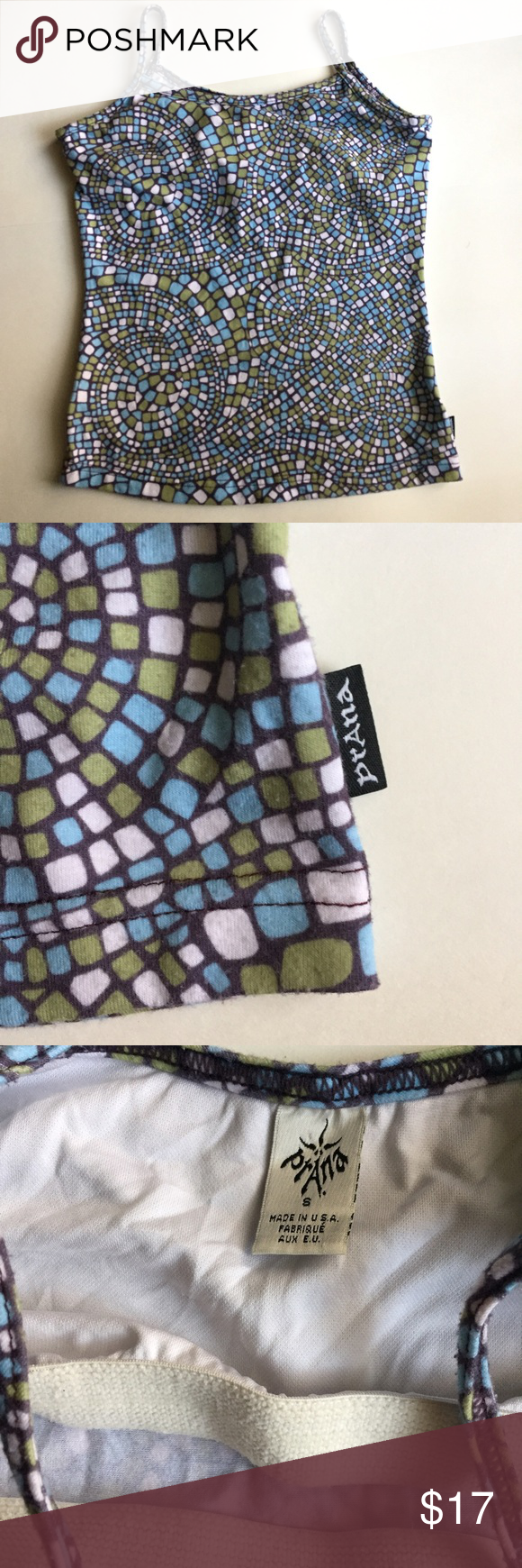 PrAna Mosaic Print Tank Blue, green, black and white print; shelf lined bra. Preloved condition, no stains or flaws. Size Small. Please see photos for measurements. Prana Tops Tank Tops