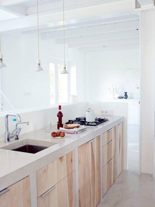 cucina in muratura lineare ante legno chiaro   CUCINA IN MURATURA ...