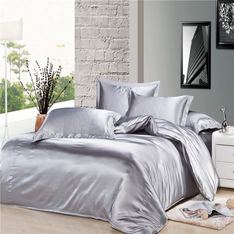 Silver Comforter Luxury Silver Gray Silk Satin Comforter Duvet Covers Bedding Sets 4pc Silk Bed Sheets Satin Bedding Cheap Bedding Sets