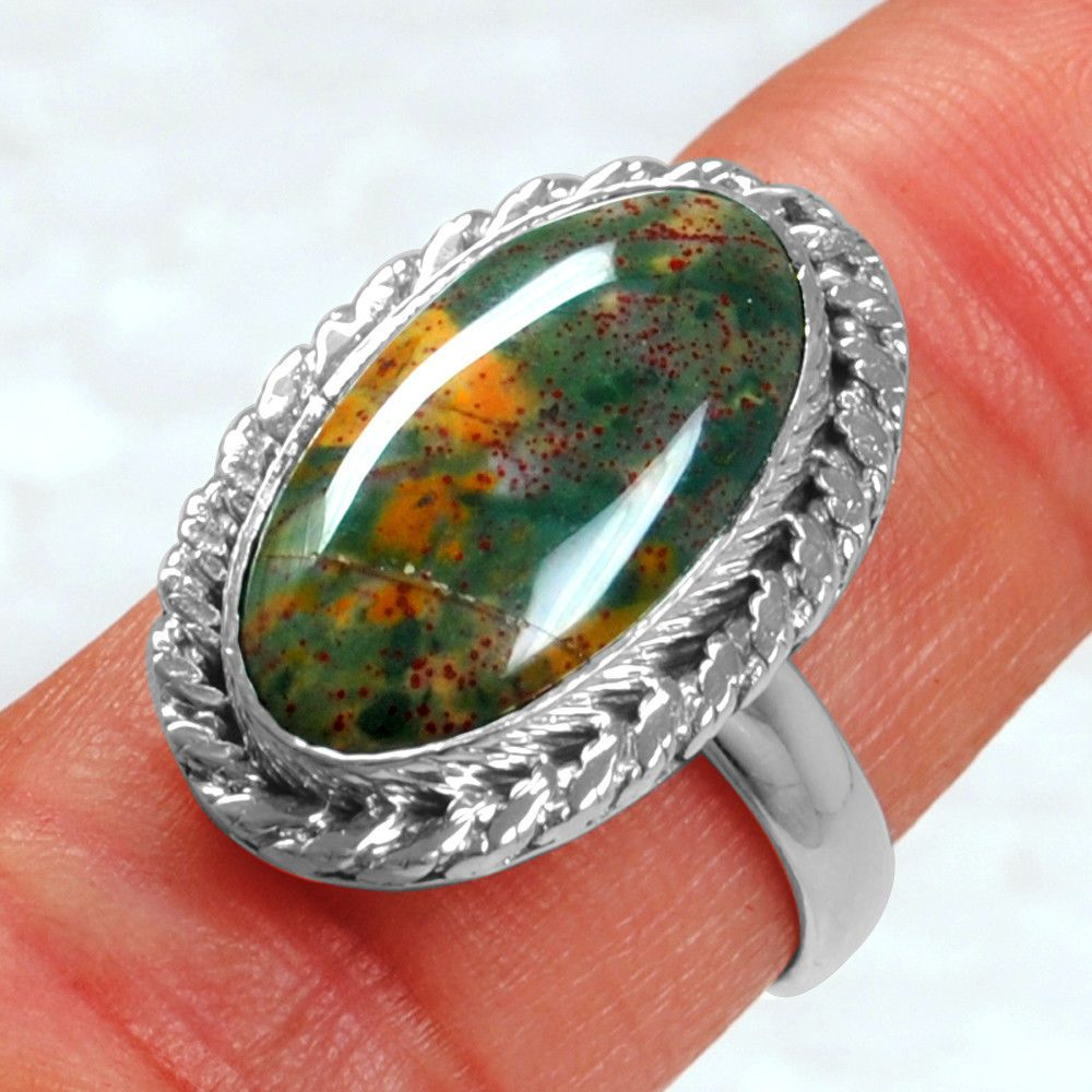 Natural Ocean Jasper Gemstone Handcrafted Jewelry Solid 925 Sterling Silver Ring Size 10