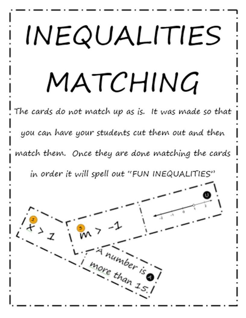 Inequalities Matching Graphing Inequalities Inequality Solving Inequalities