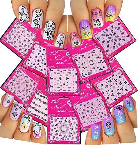 Adorable Nail Art 3d Stickers Decals With Rhinestones Variety Pack