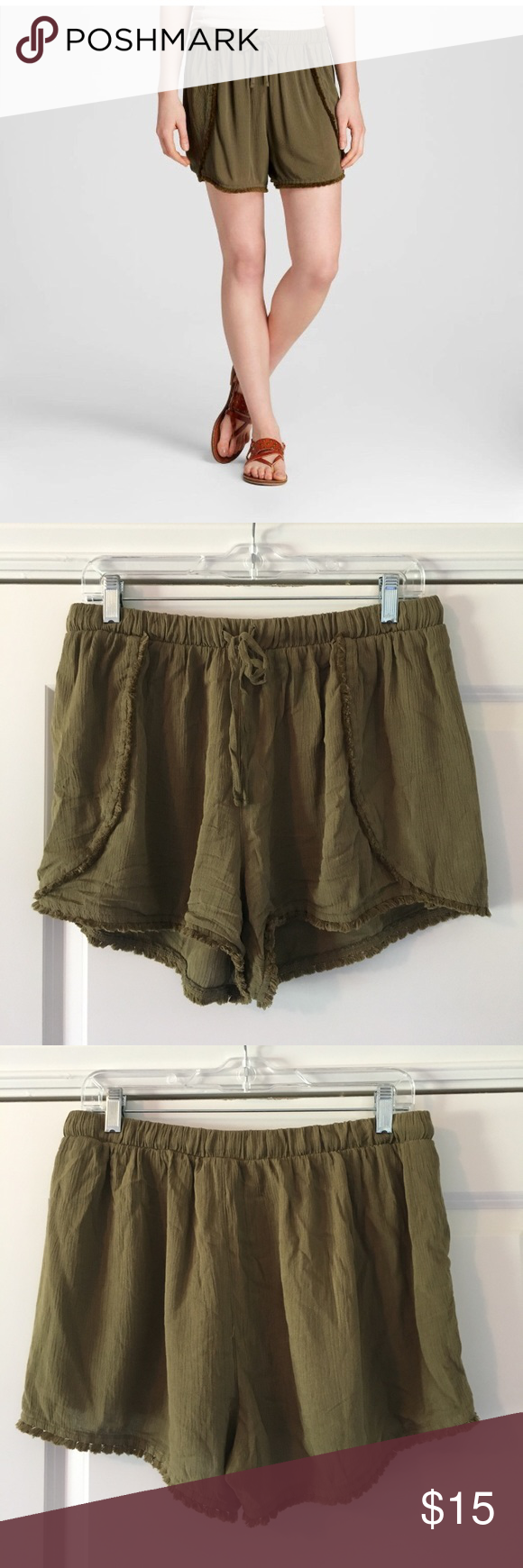 🔴PRICE DROP🔴Mossimo Olive Pom Pom Soft Shorts Target Mossimo Shorts. GUC. Olive Green color. Comfortable soft shorts. Size L. Mossimo Supply Co. Shorts