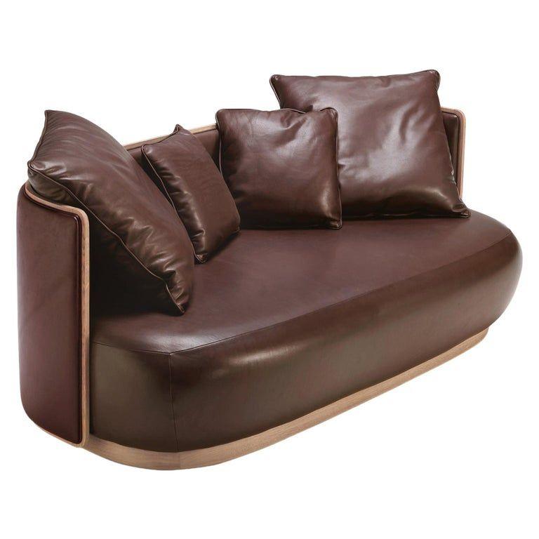 Fratelli Boffi Leather Wood Kir Royal 2 Seat Modern Italian Sofa Modern Leather Sofa Black Leather Sofas Unique Sofas