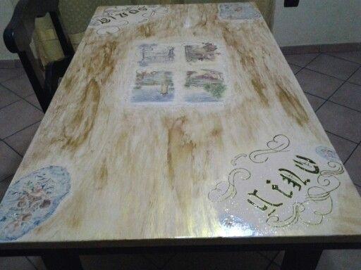 Tavolo decoupage ~ Tavolo legno da cucina o sala creazioni artigianali decoupage