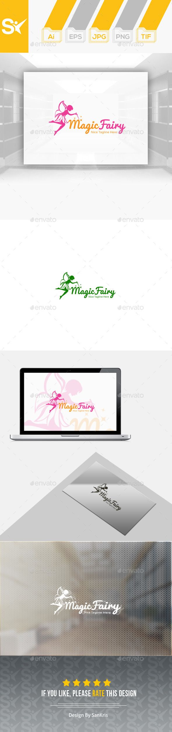 Magic Fairy Logo Design Template Vector logotype