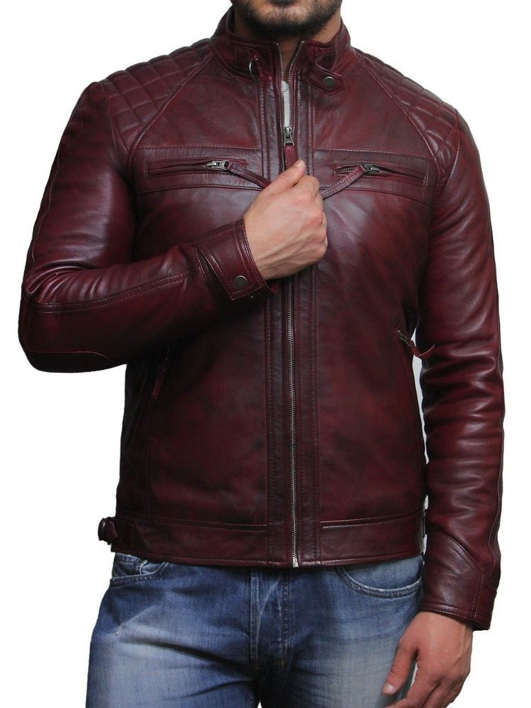 Leather Kraft Mens Lambskin Leather Bomber Biker Leather Jacket