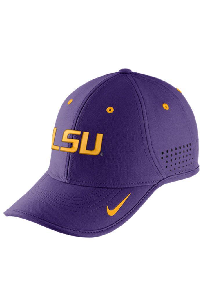 fffb442ff200bd Nike LSU Tigers Mens Purple Dri-Fit Coaches Adjustable Hat, Purple, 100%