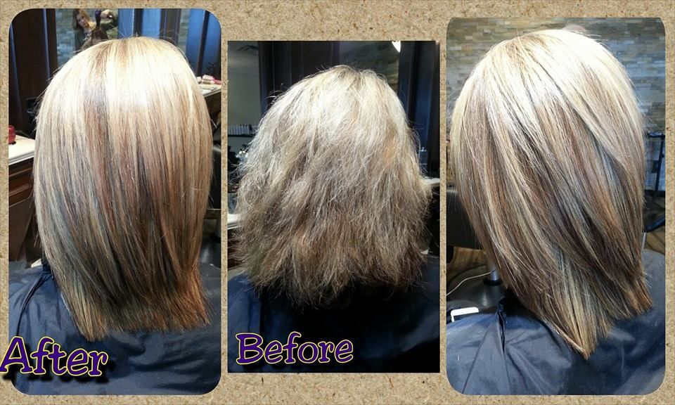 Olaplex makeover, before and after. From frazzled to