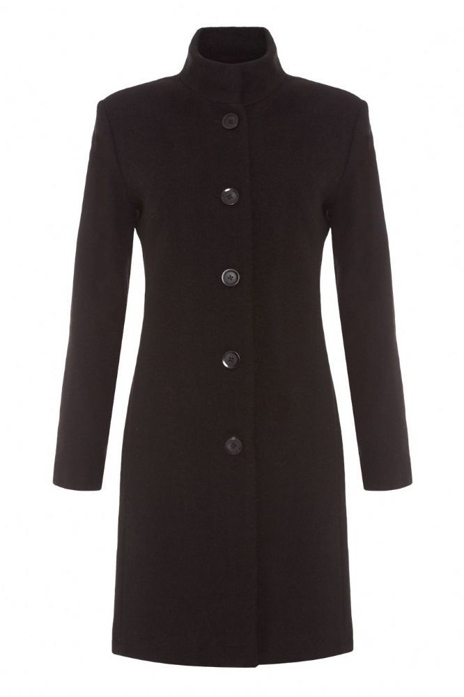 Elegant funnel neck coat made from 70% wool
