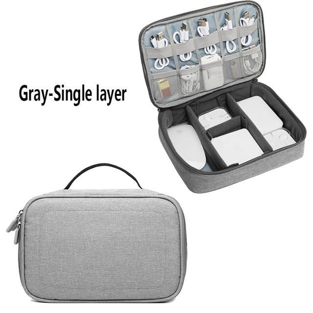 TUUTH Travel Digital Cable Storage Bag Mobile Power Organizer Bag Electronics Accessories Bag Case for earphones - Gray-Single layer 2 / France