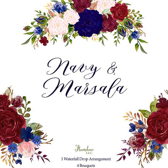 Navy And Marsala Watercolor Clipart Bordo Marsala And Blush Indigo