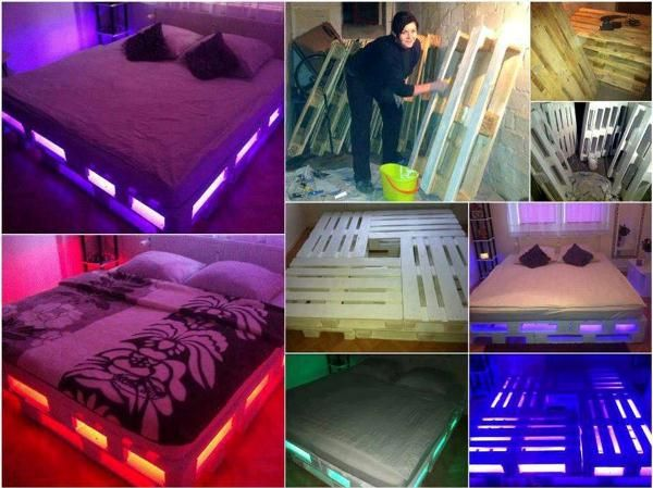 Bed Van Pallets : Leuk idee led verlichting onder je bed van pallets wooden