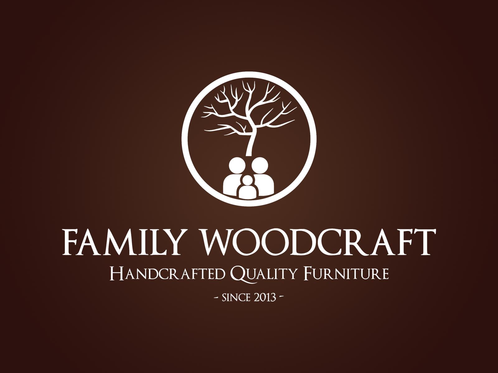 Family Woodcraft Logo 2 Preview Brown Bg Logo Designs