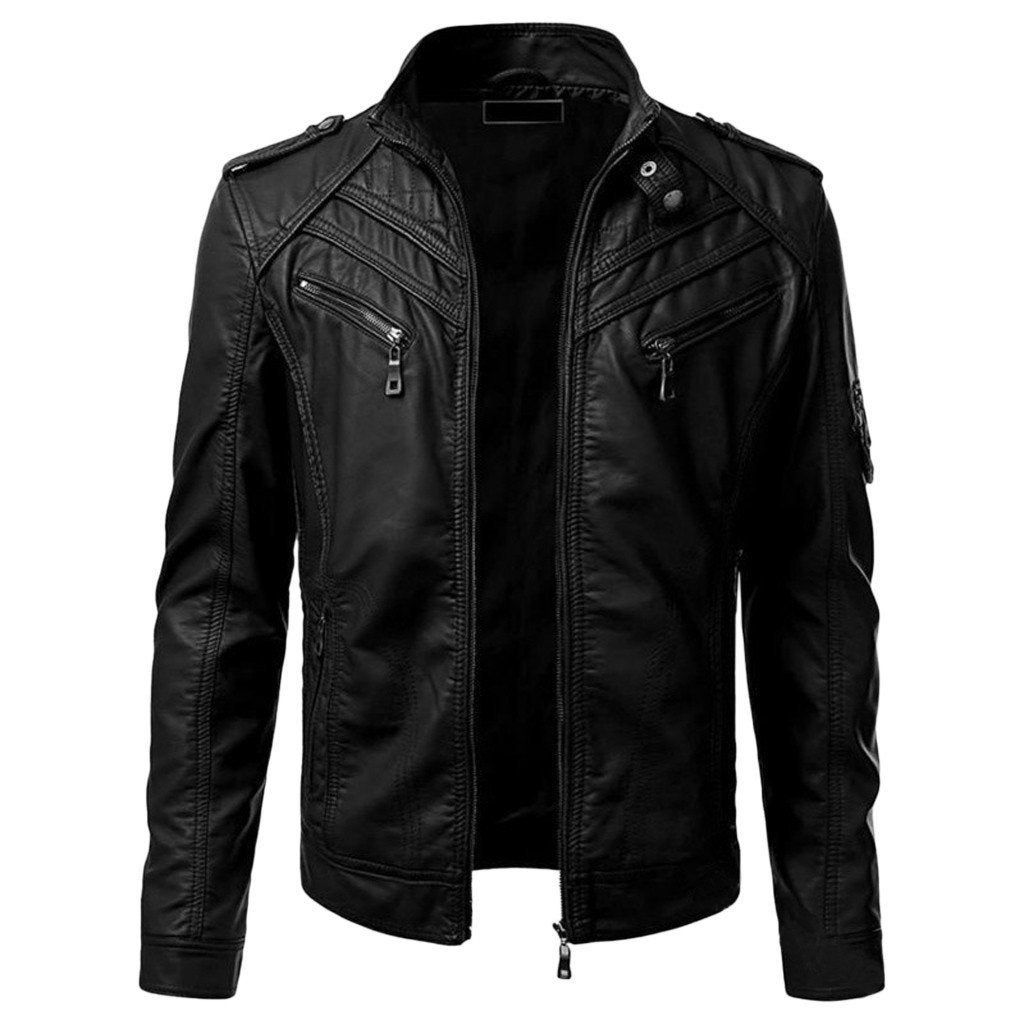 Casual Men Slim Fit Leather Jacket Biker Motorcycle Zipper Etsy In 2021 Leather Jacket Men Real Leather Jacket Men S Leather Jacket [ 1024 x 1024 Pixel ]
