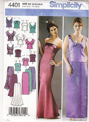 Simplicity Wedding Evening Bridesmaid Tops Skirts Sewing Pattern 4401 Szs 10 18