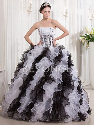 f23c42c78a4 Corset Print Organza Strapless Big Two Tone Puffy Ball Gown Dress - US   261.99 - Style BP1241 - Beyonce Prom