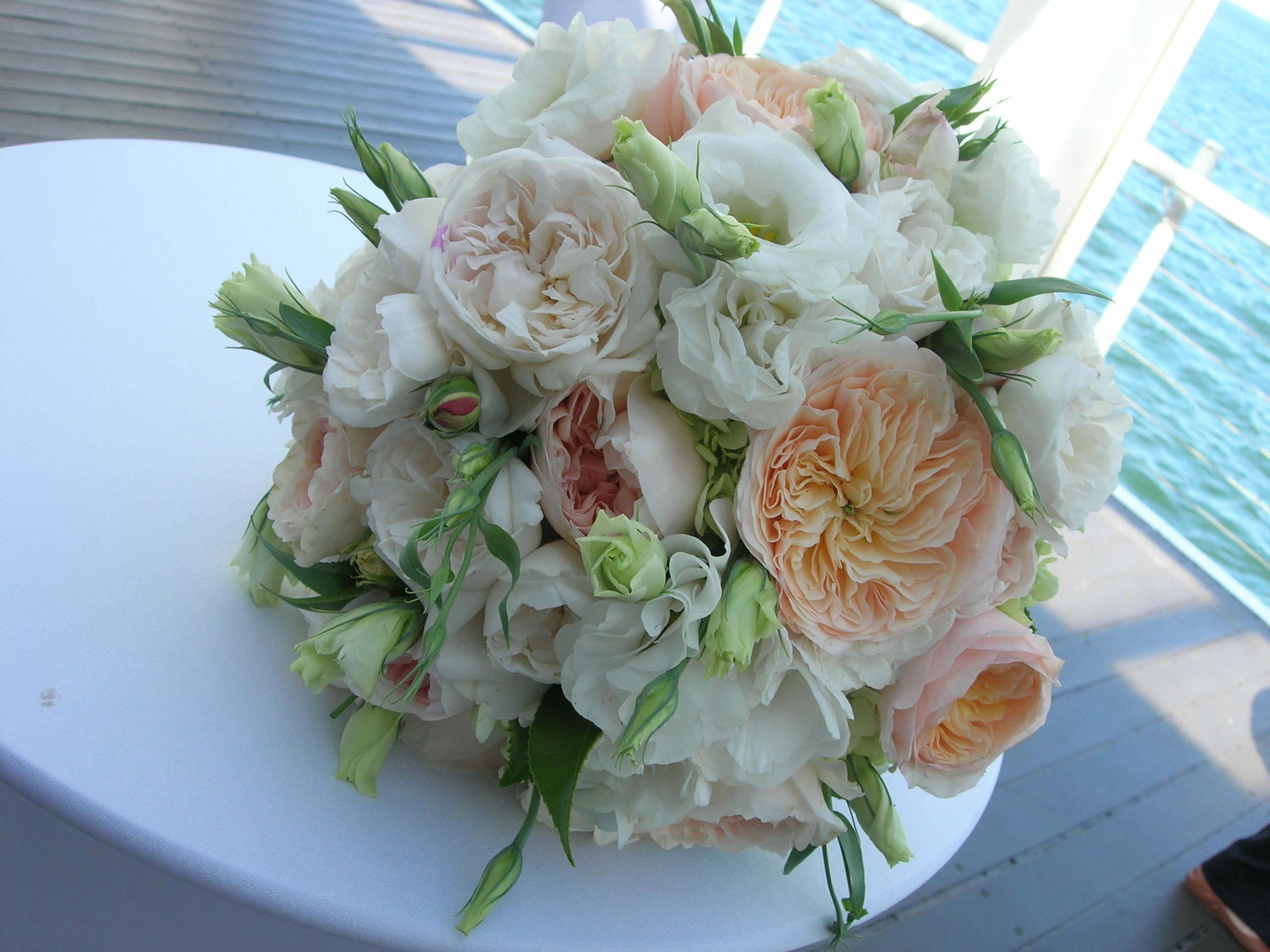peach and white bouquet Wedding flower packages, Fresh