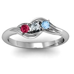 Three Stone Wave Ring #jewlr perfect for mothers day...with everyone's birthstones :)