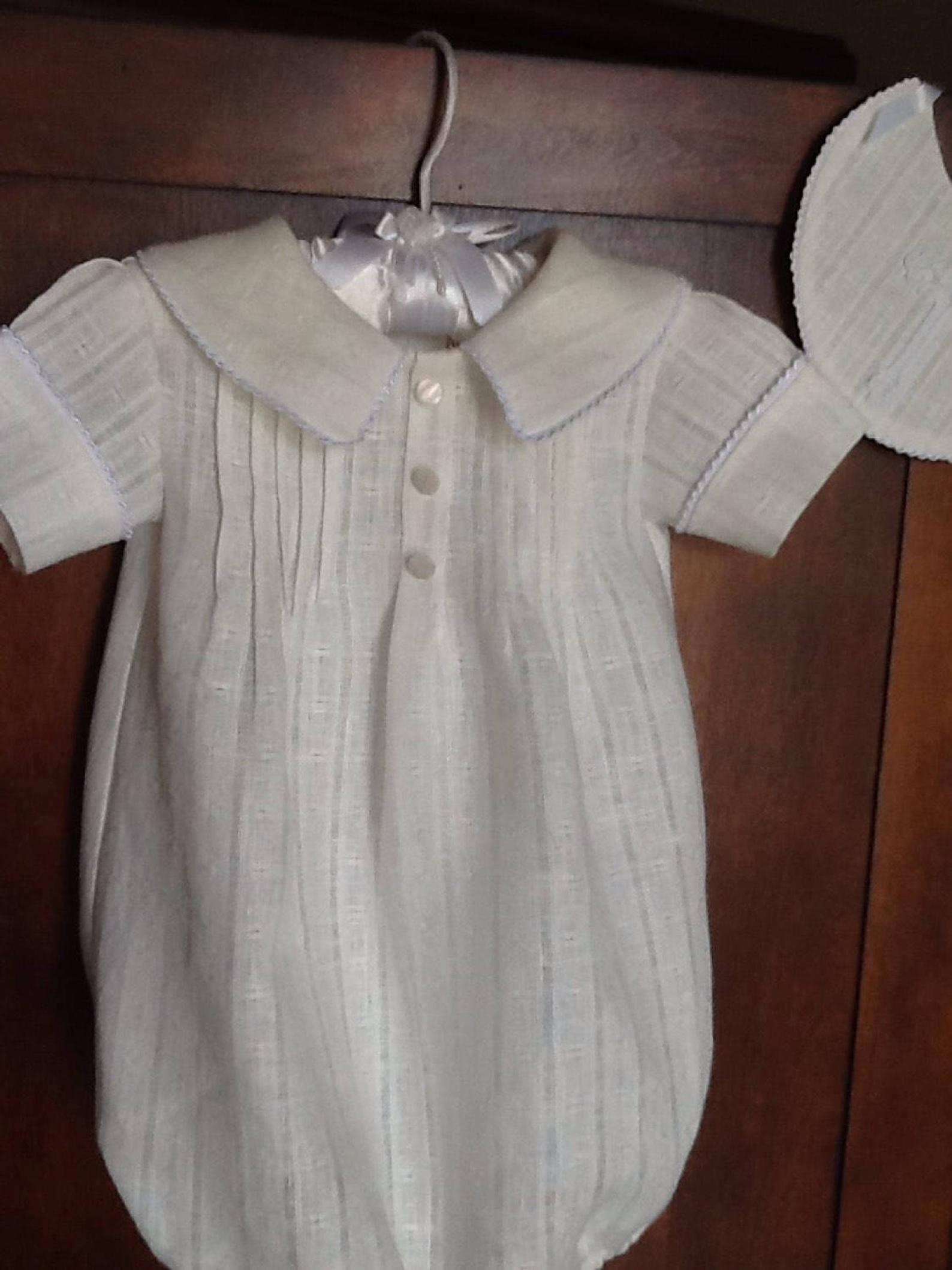 Baby Boy Linen Bubble With Matching Bib