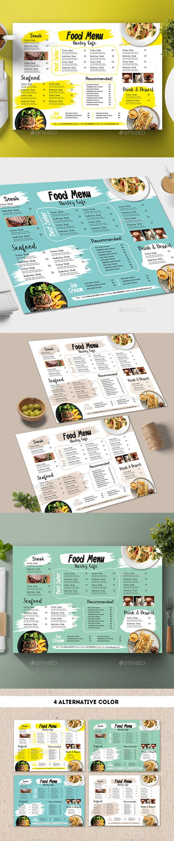 Modern Food Menu Design Template - Food Menus Print Template Vector ...